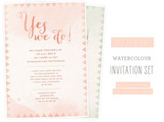 free printable - watercolor invitation + save the date in peach and mint