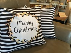 Merry Christmas is set in a classic wreath on a traditional black and white background and its reversible so its chic for the rest of the