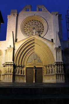 The main portals of the Cathedral of Tarragona (Catedral Basílica Metropolitana i Primada de Santa Maria). The current structure is built around an edifice constructed in 1154.