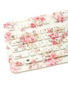 Delicate Pink Floral Print Keyboard for Charming Lady