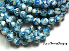 1 Strand 8mm Blue Mother of Pearl in Resin by IvoryTowerSupply