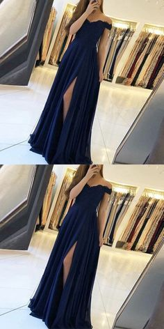 A Line Off The Shoulder Navy Blue Chiffon Long Prom Dress, Sexy Split Evening Dress A Line Off The Shoulder Dunkelblaues Chiffon Langes Abendkleid, Sexy Split Abendkleid auf Luulla Cute Prom Dresses, Grad Dresses, Homecoming Dresses, Sexy Dresses, Beautiful Dresses, Fashion Dresses, Formal Dresses, Long Dresses, Dress Prom