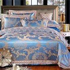 European Style Jacquard Design Blue 4-Piece Duvet Cover Sets