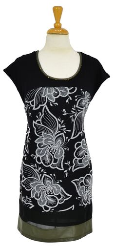 Black White Floral Tunic~ Best selection of Tunics & matching accessories ~ Flat postage worldwide ~ Petite to Plus sizes ~ www.ilovetunics.com