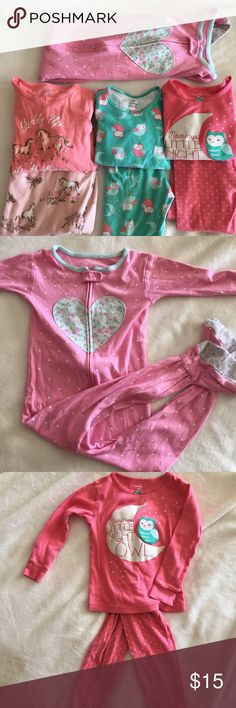 Bundle of 4 Carters Girls Pajamas Toddler size 3T 4 pairs of super cute PJ's all from Carters. 3 sets and one footed onesie.  Size 3T.  All in gently loved condition.  Pink owl top missing threads in a small section on back hem (shown in picture) also, the moon on this shirt glows in the dark! 🌙 Happy Poshing!! Carter's Pajamas Pajama Sets
