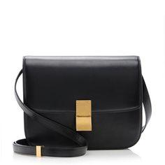 Black leather Céline Medium Box Bag