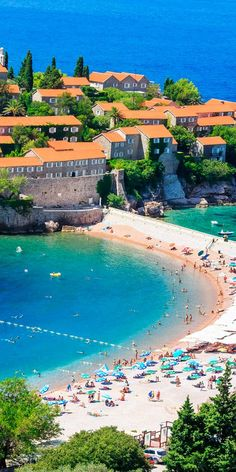 Sveti Stefan Island, near Budva, Montenegro. Next destination perhaps? Voyage Montenegro, Montenegro Travel, Montenegro Budva, Places To Travel, Places To See, Travel Destinations, Albania, Beautiful Islands, Beautiful Places