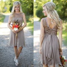 New Gray Country Bridesmaid Dresses 2016 Short Chiffon Beach Lace Summer Wedding Party Dress Knee Length With Sash Maid Honor Gowns Under 90