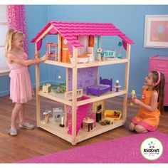 KidKraft So Chic Wooden Dollhouse with 45 Pieces of Furniture, Multicolor