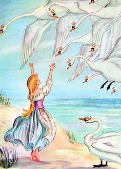 The Wild Swans 1945 Fairy Tale Illustration Tasha Tudor Hans Christian Andersen--one of the best fairy tales. Hans Christian, Grimm, Harry Clarke, Arthur Rackham, William Blake, Fairytale Art, Children's Book Illustration, Book Illustrations, Nursery Rhymes