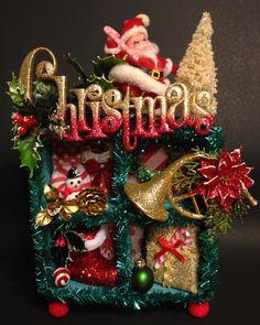 Vintage Christmas~Kitschy Christmas~Christmas Shadowbox~Christmas Diorama~Vintage Santa~Santa Boot~Christmas Assemblage~Bottlebrush tree by ThePokeyPoodle on Etsy