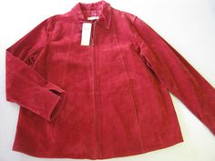 Coldwater Creek Leather Jacket XL Red Suede Zip Front NEW #ColdwaterCreek #BasicJacket