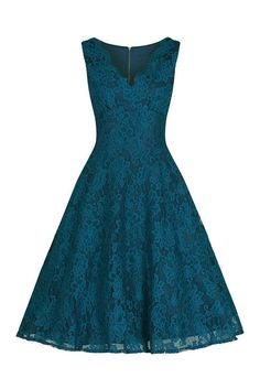 Teal Lace Embroidered Swing Dress
