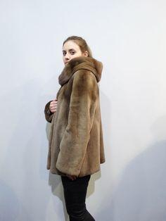 Real Mink FurFur Coat HoodSheared Fur CoatWoman by FilimegasFurs Winter Fur Coats, Winter Jackets, Mink Colour, Mink Fur, Fur Jacket, Model, Etsy, Black, Fashion