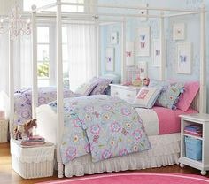 Catalina Bed & Canopy | Pottery Barn Kids Maddys new bedding.. Waiting for it to come.. Blue walls