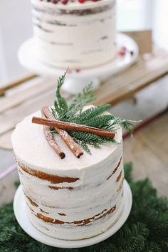 Chiffon cake with cinnamon filling and a thin layer of buttercream frosting for a rustic winter wedding by Elizabeth Anne Designs.