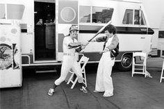 Elton and Billy Jean King backstage at Dodger Stadium, 1975.