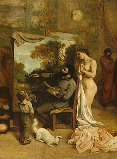 Gustave Courbet - The Artists Studio, A Real Allegory, Detail Of The Painter And His Model, 1854-55 Oil On Canvas