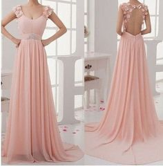 Junior Stunning Open Back Chiffon Blush Pink On Sale Long Prom Dresses, WG223 The long prom dress is fully lined, 4 bones in the bodice, chest pad in the bust, lace up back or zipper back are all avai