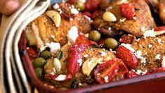 Středomořská kuřecí stehna s rajčaty a olivami Kung Pao Chicken, Feta, Treats, Ethnic Recipes, Sweet Like Candy, Goodies, Sweets, Snacks