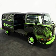 Car wrap on a 70's VW Bus was designed for by Ink Monstr's Nick Hughes for Openvape. This VW bus is truly one of a kind.