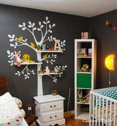 Shelving  Tree with Birds - LARGE  Kids Vinyl Wall Sticker Decal Art. $88.00, via Etsy.