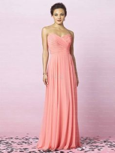 A-line Sweetheart Pleating Floor-length Pink Chiffon Prom Dress at Millybridal.com