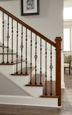 Media Gallery from Crown Heritage Stair Company - Crown Heritage Stair Company House Stairs, Staircase Decor, Balcony Railing Design, Home Stairs Design, Staircase Railings, Wrought Iron Stairs, Staircase Railing Design, Stair Railing Design, Staircase Makeover