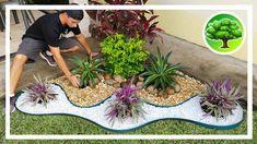 💚 DIY - DECORAÇÃO DE JARDIM 12 / JARDIM COM PEDRAS / SOL PLENO Garden Yard Ideas, Diy Garden Projects, Diy Garden Decor, Garden Crafts, Garden Art, Garden Design, Landscaping Around Deck, Backyard Landscaping, Lucky Bamboo Plants