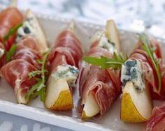 Bouchées de poire au roquefort et au prosciutto à moins de 200 calories