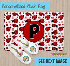 Personalized Ladybug Rug - Personalized Plush Rug - Personalized Nursery Rug - Children Rug - Nursery ladybug Rug - Ladybug Bedroom