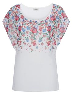 'Aisha' Floral Top - Women's short sleeve top in white with upper floral print detail and a round neckline.