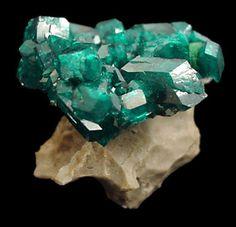 Dioptase - Altyn-Tyube dioptase deposit, Altyn-Tyube area, Kirghiz Steppes, Karagandy Province, Kazakhstan Size: 3.0 x 3.0 x 3.0 cm