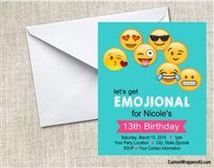Emjoi birthday party invitation, emojional, emojis