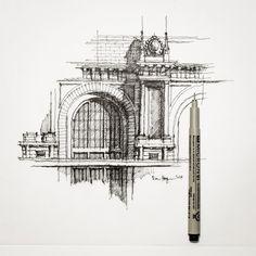 Partial Facade #sketch #architecture #dhsketch | by Dan Hogman