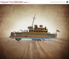 FLASH SALE til MIDNIGHT Vintage Green Tin Battleship , Photo Print, Boys Room decor, Boys Nursery Prints, Army Room Decor