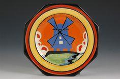 Clarice Cliff Applique Sandwich Plate -  Windmill Pattern - Bizarre/Applique marked - 140mm Wide
