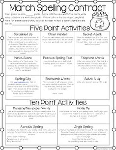 March Spelling Homework Freebie ~Some ideas for independent spelling centers 4th Grade Spelling, Spelling Centers, Spelling Homework, Spelling Practice, Spelling Activities, Spelling And Grammar, Spelling Words, Spelling Ideas, Spelling Menu