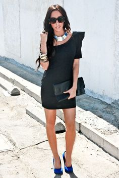 black dress, matching shoes blue, jewelry - silver blue