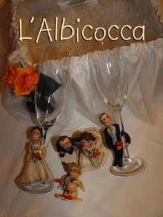 http://www.facebook.com/LAlbicocca  Wedding Cake Topper and flute