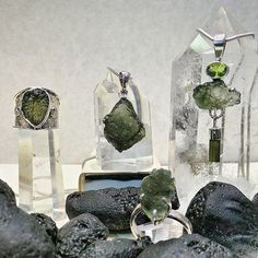 """WEBSTA @ wishingstoneseatac - Moldavite is an olive-green or dull greenish vitreous substance possibly formed by a meteorite impact. It is one kind of tektite. They were introduced to the scientific public for the first time in 1786. the term """"Moldavite"""" derived from the town of Moldauthein in Bohemia (the Czech Republic), from where the first described pieces came from. #minerals #gems #gemstones #rocks #rockshop #crystals #thewishingstone #moldvite"""