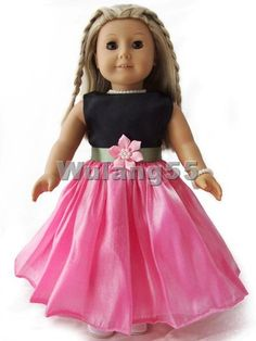 """Handmade Floral Party Dress fits 18"""" American Girl doll"""
