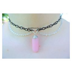 Pastel Goth Pink Rose Quartz Crystal Choker Chain Necklace ❤ liked on Polyvore featuring jewelry, necklaces, gothic chokers, pastel goth necklace, crystal choker, choker necklaces and goth choker necklace