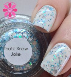 different DIMENSION That's Snow Joke Swatch - Cosmetic Sanctuary; Brand: different DIMENSION, Name: That's Snow Joke, Collection: Happy Holly Days, Color: Blue, Shade: Light, Finish: Glitter Top Coat, Type: Glitter