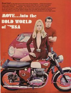 That dude looks really angry... which is normal when you have to ride a pink car. - 1968 BSA 650cc Spitfire Mark IV Motorcycle w Ferrari 250 LM Sexy Girl Ad | eBay