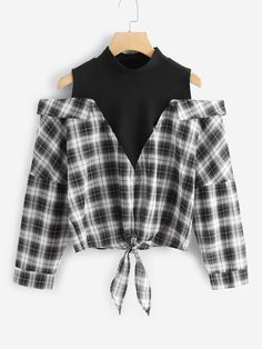 Shop Plaid Cold Shoulder Knot Hem 2 In 1 Blouse online. SHEIN offers Plaid Cold Shoulder Knot Hem 2 In 1 Blouse & more to fit your fashionable needs. Girls Fashion Clothes, Teen Fashion Outfits, Mode Outfits, Girl Fashion, Girl Outfits, Mens Fashion, Crop Top Outfits, Cute Casual Outfits, Preppy Outfits