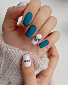 Looking for the Best Spring Nail Art? No problem! Today we have 50 of the Best Spring Nail Art for Spring Nail Colors, Spring Nail Art, Acrylic Spring Nails, Winter Colors, Dark Acrylic Nails, Winter Art, Teal Nails, My Nails, Pale Pink Nails