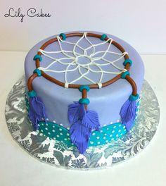 Dream Catcher birthday cake with fondant feathers.