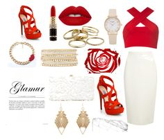 """""""Lady in red"""" by mediha-delic ❤ liked on Polyvore featuring Motel, Prada, Donna Karan, Kenneth Jay Lane, Charlotte Russe, Deux Lux, Kendra Scott and Lime Crime"""