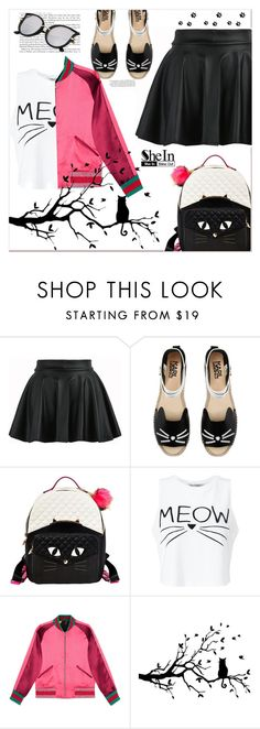 """Cat style...contest entry...."" by nihal-imsk-cam ❤ liked on Polyvore featuring Karl Lagerfeld, Betsey Johnson, Miss Selfridge and Gucci"